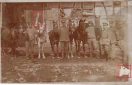 Photocarte Allemande- Militaire Soldats Allemands Sortant Les Cheveaux-KOMPAGNIE75-1918  (guerre14-18)2scans - War 1914-18