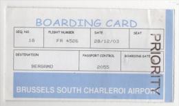 Alt409 Carta Imbarco Boarding Pass Ryanair Flight Volo Airline Linea Aerea Orio Serio Bergamo Charleroi Bruxelles - Plane