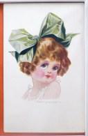 Litho CHROMO Illustrateur SPURGIN Bébé Fille FILLETTE GROS NOEUD CHEVEUX G.A. & Co Series N° 208 Voyagé 1921 Knocke - Spurgin, Fred