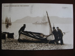 A Misty Morning On The Conway, Caernarvonshire - Fishermen With Boats - Caernarvonshire