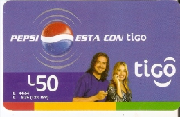 TARJETA DE HONDURAS DE TIGO DE PEPSI-COLA ESTA CONTIGO - Publicidad