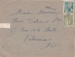 1940 Oblitération De FORTUNE : BAVAY NORD + Date : 17 OCT 40 Sur Lettre > VALENCIENNES / PAIX 75c + MERCURE 25C - Marcophilie (Lettres)