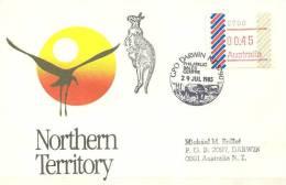 Australie. Lettre Envel. Affr. Frama   (1ère émission 1985)  GPO  Darwin - ATM - Frama (vignette)