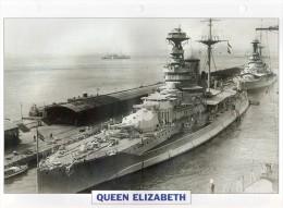 GB 1941, Cuirassé  QUEEN ELIZABETH, édit.ATLAS, 24cmsx15.5cms, Au Dos Renseignements  Divers (b15) - Bateaux