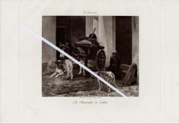Lithographie : La Charrette De Sable De J.Stevens. Ane Ou Mulet Attelé à La Charrette, 2 Chiens Et Femme Assise. - Lithographies