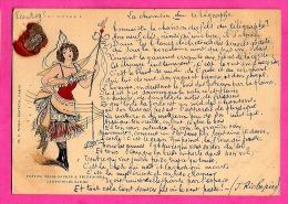 POSTES, TELEGRAPHES & TELEPHONES -carte-télégramme- Cachet Cire - H.C. Wolf édideur Paris -texte Chanson - Correos & Carteros