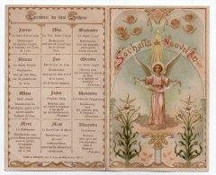 Image Pieuse Souhaits De Nouvel An, Calendrier Du Vrai Bonheur, Art Nouveau, Anges, éd. Edan & Rodhain N° 1076 - Devotieprenten