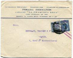 COLOMBIE LETTRE DEPART BOGOTA AVEC CACHET SERVICIO DE TRANSPORTES AEREOS  BARRANQUILLA 2.VII.1932 - Colombie