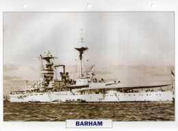 GB 1941, Cuirassé BARHAM, édit.ATLAS, 24cmsx15.5cms, Au Dos Renseignements  Divers (b15) - Bateaux