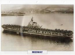 USA 1945, Porte-avions Lourd, MIDWAY , édit.ATLAS, 24cmsx15.5cms, Au Dos Renseignements  Divers (b15) - Bateaux