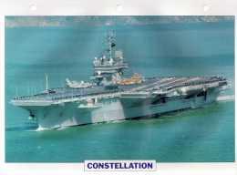 USA 1960   Porte-avions Lourd  CONSTELLATION,  édit.ATLAS, 24cmsx15.5cms, Au Dos Renseignements  Divers (b15) - Bateaux