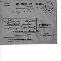 MINISTERE DES FINANCES   LETTRE PERSONNELLE - 1950 - ...