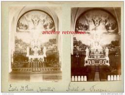 2 Photographies Albuminées, Une De 1898, L´autre Antérieure-Ecole Saint Jean Versailles-Autel Et Fresque - Photographs