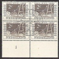 NEDERLAND ITEP NVPH 592 /595 In Blokken Van Vier Met Plaatnummer 1 Gestempeld 1e Dag Van Uitgifte - Period 1949-1980 (Juliana)