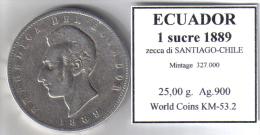 ECUADOR - 1 SUCRE 1889  SANTIAGO-CHILE-  FINE SILVER ARGENT PLATA - Ecuador