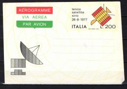 ITALIA - 1977 - AEROGRAMMA FRANCOBOLLO LANCIO DEL SATELLITE SIRIO -  DA L. 200 - 6. 1946-.. Repubblica