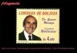 AMERICA. BOLIVIA MINT. 2002 HOMENAJE A GUNNAR MENDOZA. CIENTÍFICO BOLIVIANO - Bolivia