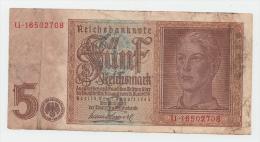 GERMANY NAZI 5 Reichsmark 1942 AVF P 186a 186 A - 5 Reichsmark