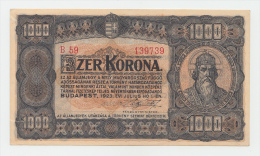 HUNGARY 1000 KORONA 1923 XF+ (border Split) P 75b - Hongrie