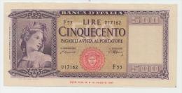 Italy 500 Lire 1947 XF Banknote P 80a - 500 Lire