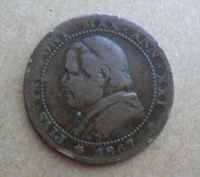 1 SOLDO 5 CENTESIMI DELLO STATO PONTIFICIO 1867 - BUSTO NORMALE - - Vaticano