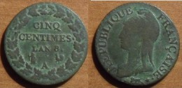 1799/00 - France - CINQ CENTIMES L´AN 8, Dupré, (A) - France