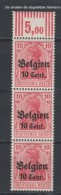 Belgien,14cII,PF,Fuß Der 1 Abgebrochen,F.25,im OR 3er Mit 3.7.3,postfrisch,Teilauflage (4130) - Besetzungen 1914-18