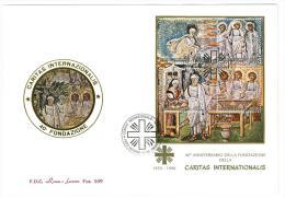 FILATELIA - CARITAS INTERNAZIONALIS - FOGLIETTO ANNO 1990 - FDC ROMA LUXOR - FDC