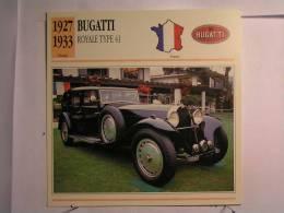 Lot De 3 Fiches Illustrées Voiture - Bugatti - France - Cars