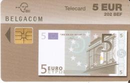 TARJETA DE BELGICA DE UN BILLETE DE 5 EUROS- 202 BEF (BANKNOTE) 31/12/2004 - Sellos & Monedas