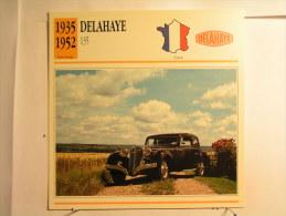 Lot De 4 Fiches Illustrée Voiture - France - Delahaye Et Hispano Suiza - Voir Description - Cars