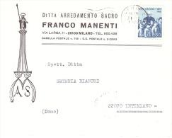 1973 £ 50 DON ORIONE SU BUSTA FRANCO MANENTI ARREDO SACRO MILANO - 6. 1946-.. Repubblica