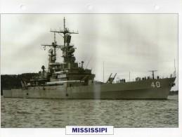 USA 1976  Croiseur Nucléaire Lance-misssiles MISSISSIPI,  24cmsx15.5cms, Au Dos Renseignements  Divers (b15) - Bateaux