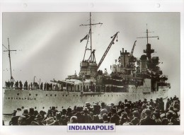 USA 1945  Croiseur De Bataille INDIANAPOLIS,  24cmsx15.5cms, Au Dos Renseignements  Divers (b15) - Bateaux