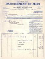 TOULOUSE - SOCIETE DES PARCHEMINS DU MIDI - IMPRIMERIE DU LANGUEDOC - 1942 - Imprimerie & Papeterie