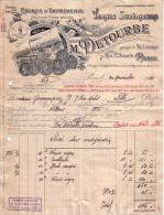 PARIS - ENCRES D'IMPRIMERIE - VERNIS SUPERIEURS - M. DETOURBE & CIE -LETTRE + MANDAT - 1924 - Imprimerie & Papeterie