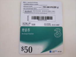 Macau Recharge Phonecard,Recharge Voucher $50,used - Macau