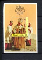 SAINT LUCIA POSTFRIS MINT NEVER HINGED POSTFRISCH EINWANDFREI   YVERT BLOC 48 PAPAL VISIT 1986 PAUSBEZOEK - St.Lucie (1979-...)