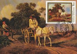 D14216 CARTE MAXIMUM CARD 1979 HUNGARY - HORSE PAINTING BY LOTZ KAROLY CP ORIGINAL - Horses