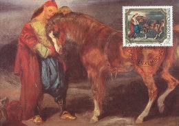 D14220 CARTE MAXIMUM CARD 1984 LUXEMBOURG - HORSE BY DELACROIX CP ORIGINAL - Art