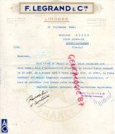 87 - LIMOGES - FACTURE F. LEGRAND & CIE- 14 ROUTE DE LYON- PORCELAINE -APPAREILLAGES ELECTRIQUES- 1936 - 1900 – 1949