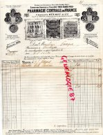 75004 - 75-  PARIS - FACTURE PHARMACIE CENTRALE DE FRANCE CHARLES BUCHET-MENIER DORVAULT-GENEVOIX- 1911 - France