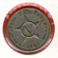CUBA / KUBA *** 5 / CINCO CENTAVOS  1920 ***   Cu-Ni - KM# 11.1 - Cuba