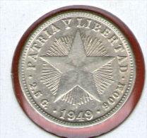CUBA / KUBA *** 10 / DIEZ CENTAVOS  1949 ***   Plata Silver Silber - KM# A12 - Cuba