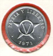 CUBA / KUBA *** 5 / CINCO CENTAVOS  1971 ***   Alu - KM# 34 - Cuba