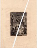 Lithographie : Couple En Costume XVIII ème S. Se Faisant Servir Un Repas. Chien Couché. - Lithographies