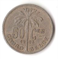 CONGO  BELGE  50 CENTIMES  1925 - Congo (Belge) & Ruanda-Urundi