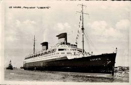 CPSM PAQUEBOT LIBERTE , Compagnie Transatlantique , Le Havre En 53 - Dampfer