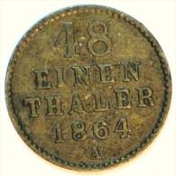 MECKELENBURG STRELITZ 1/48 THALER BILLON 1.23 Gr 1864 A TTB - Monete D'oro