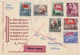 DDR Brief Eilbote Mif Minr.344,345,346,347,350,351,352 Leipzig 5.5.53 FDC - Briefe U. Dokumente